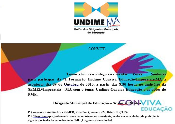 I Formação Undime Conviva Educação/Imperatriz-MA